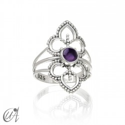 Amethyst ring in sterling silver, Lakshmi