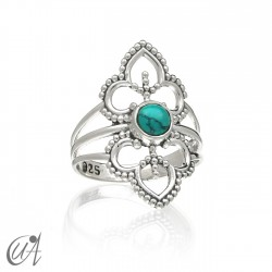 Sterling silver ring with turquoise, Lakshmi