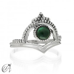 Parvati ring in 925 silver and malachite