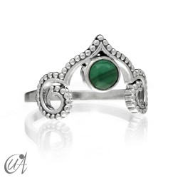 Agni ring in sterling silver with malachite