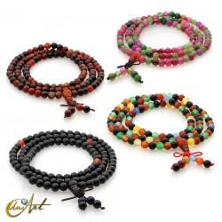 Tibetan Mala color agate beads - 6 mm