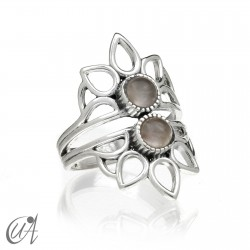 Shiva ring, sterling silver with quartz