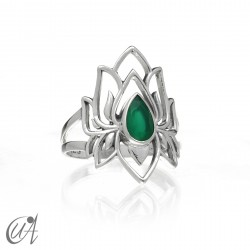 Ring with green agate in sterling silver, Brahma model