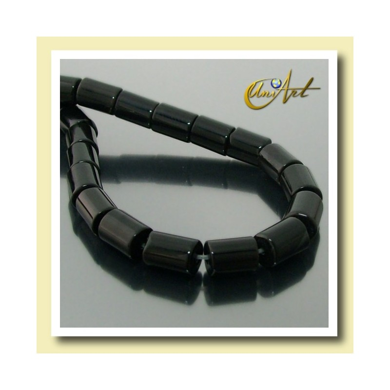 Black Agate Beads in cylinder shape 8,5 mm