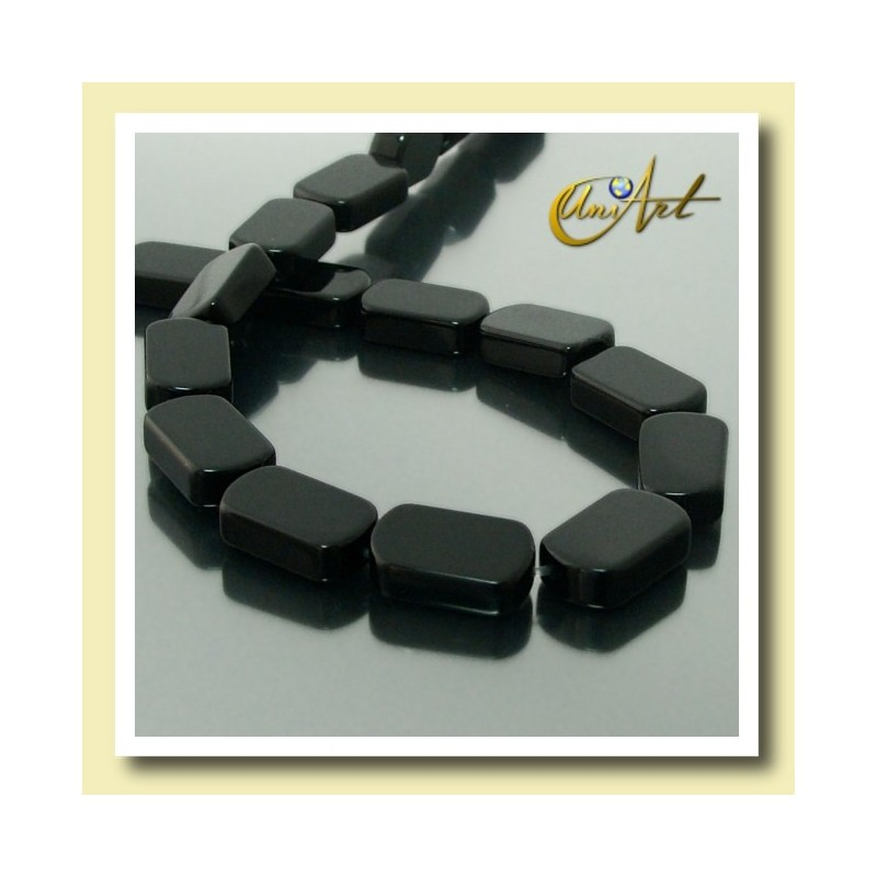 Black Agate Beads in plane oval shape 13 mm