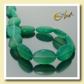 Green Agate oval beads 18 mm