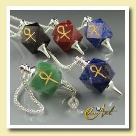 Péndulo con Ankh (Cruz Egipcia) Grabada - poliedro