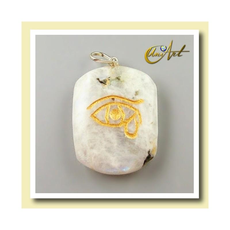 Udyat (Ojo de Horus) - Colgante grabado - piedra luna