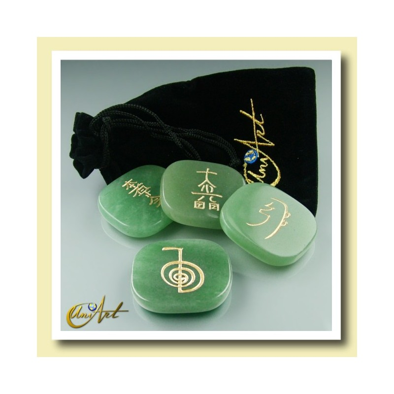 Set of green quartz with Reiki symbols - model 2