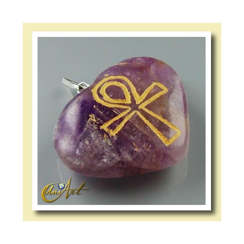 Ankh (Egyptian cross) - Engraved Heart Pendant - Amethyst