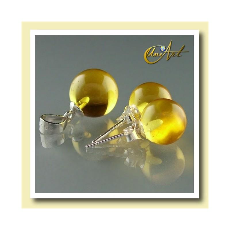 Pendientes y colgante de cuarzo amarillo con plata