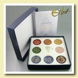 Set de los Chakras, piedras con símbolos y péndulo