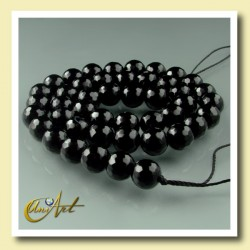 String of round bead 8mm Black Agate - Faceted