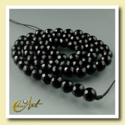 Black Agate - 6 mm faceted round beads