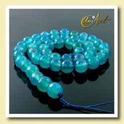 Blue Agate, 8 mm faceted round beads