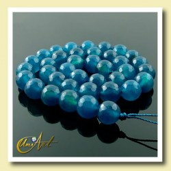 Blue Agate faceted, 10mm round beads