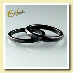 anillo ónix - fino facetado