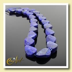Lapislázuli - cuentas ovales torcidas
