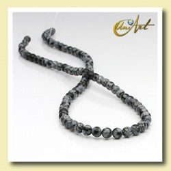 Snowflake obsidian round  beads - 4 mm