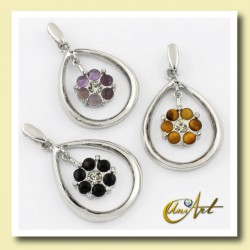 Double pendant with gemstones