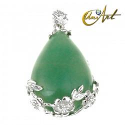 Green Aventurine Drop Pendant - floral