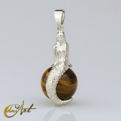 Mermaid pendant with tiger eye