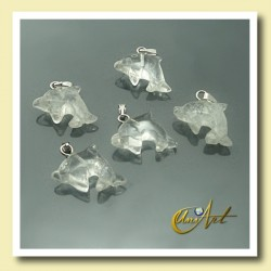 Dolphin crystal quartz pendant