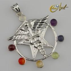 Chakras stones Caduceus of Mercury pendant