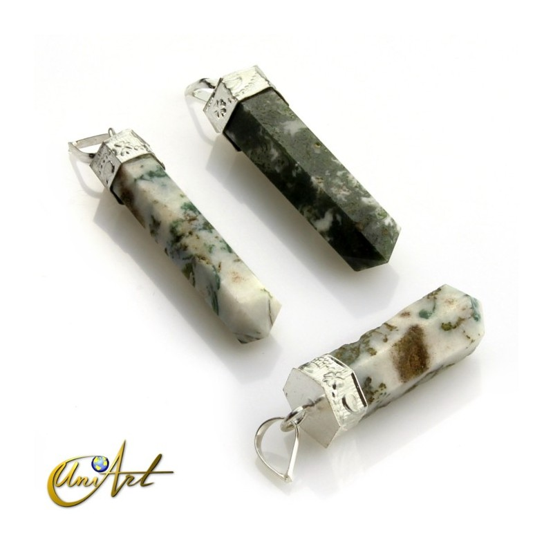 Buy 6 fact pencil point pendants of varied gemstones 6 fact pencil point pendants of tree agate mozeypictures Gallery