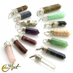 6 fact Pencil point pendants of varied gemstones