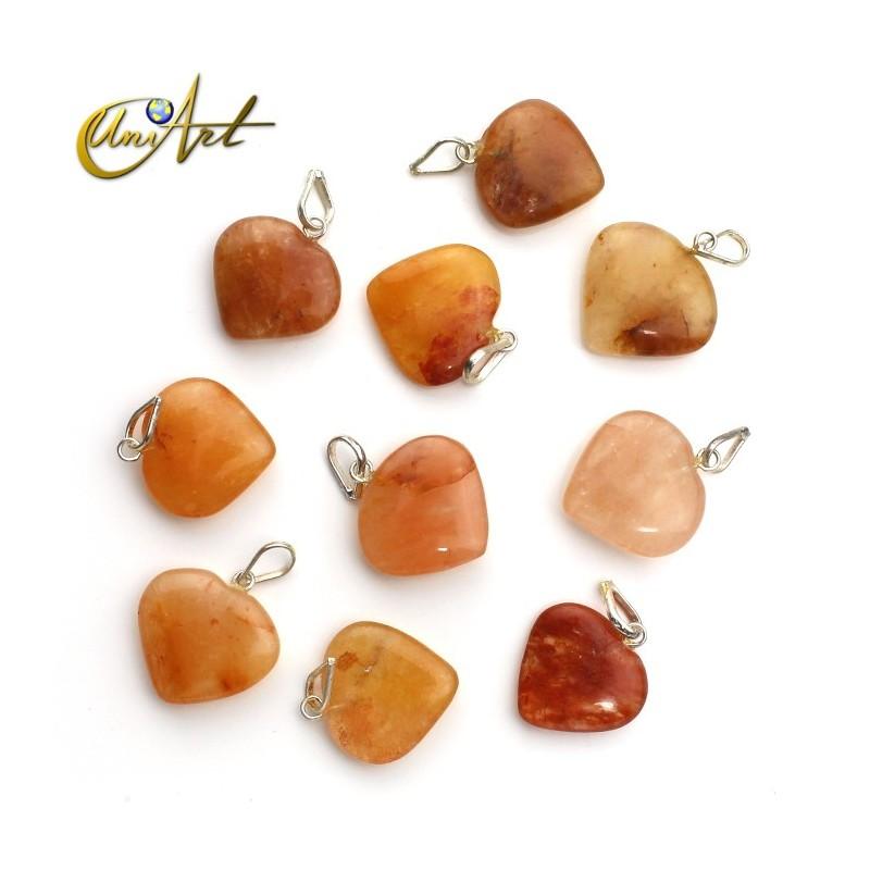 Lote de 10 corazones en piedras naturales - aventurina naranja