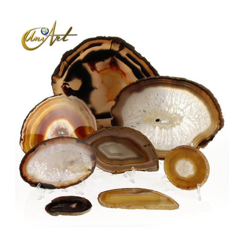 Brown agate, geode with quartz crystals