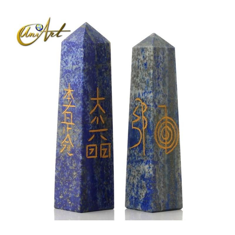 Obelisk with Reiki symbols - Lapis lazuli