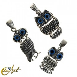 Articulated owl pendant - silver