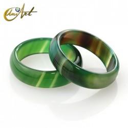 Ágata verde olivo - anillo mediano