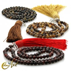 Japa Mala of tiger, hawk or bull eye - 6 mm