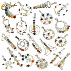 Pack of 25 silver-plated chakras pendants