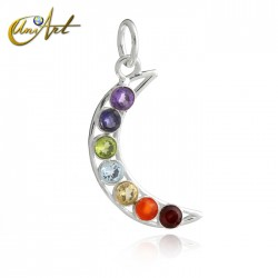Moon pendant of the chakras in sterling silver
