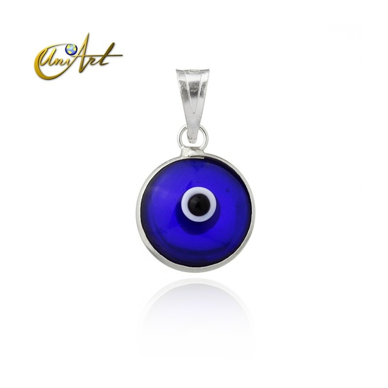 10 mm Turkish Eye in siver and lampwork - dark blue