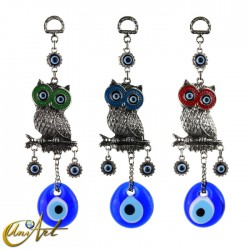Owl with Turkish evil eye, talisman