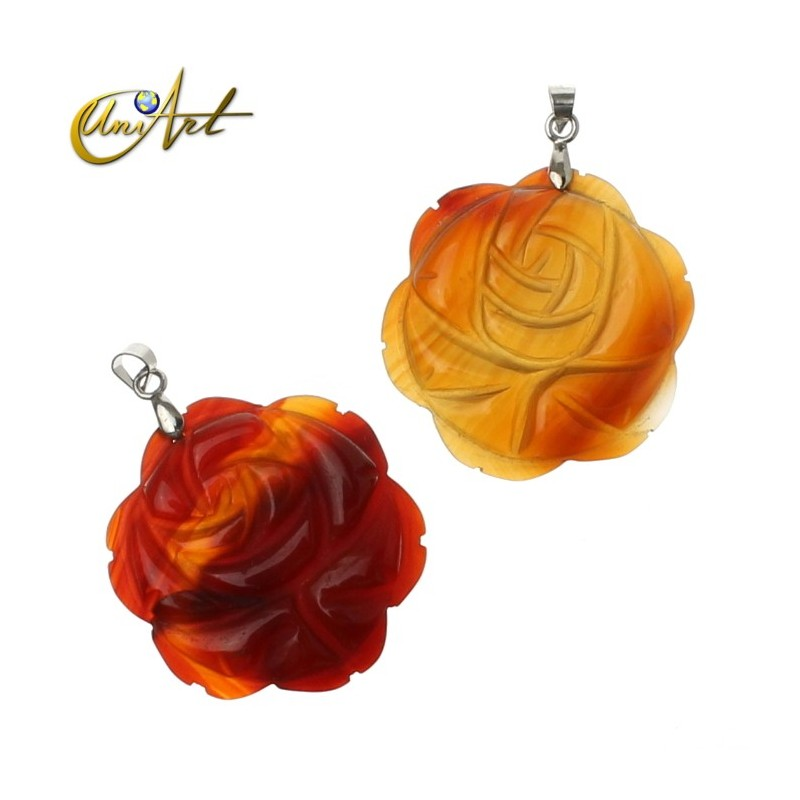 Rose Pendant of carnelian