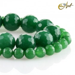 Faceted green jade balls