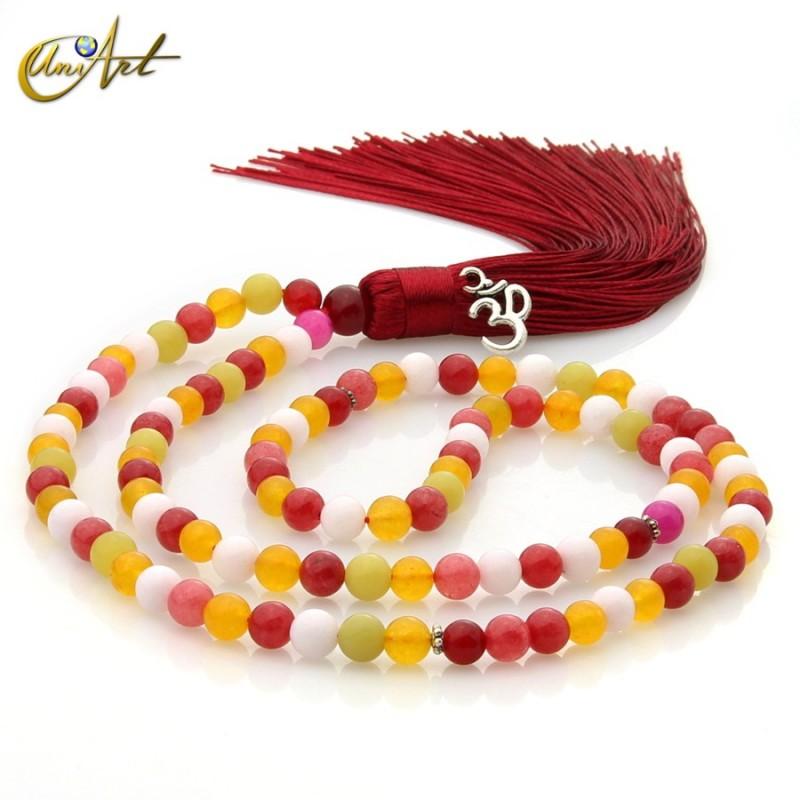 Tibetan Buddhist Mala Beads of Jade with OM in ball 6 mm - multicolor