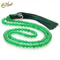Tibetan Buddhist Mala Beads of Jade with OM in ball 6 mm - green
