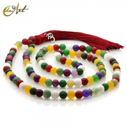 Japa Mala de jade en bolas de 8 mm - multicolor