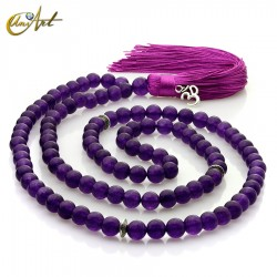 Tibetan Buddhist Mala Beads of jade - 8 mm purple