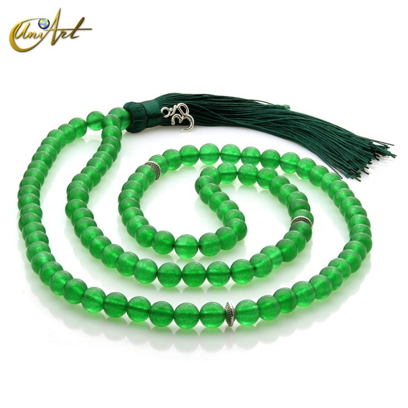 Tibetan Buddhist Mala Beads of jade - 8 mm green