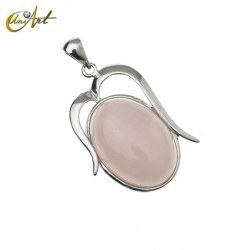 Oval pendant of rose quartz Athenas model