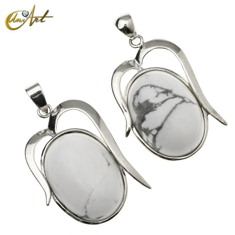 Oval pendant of howlite Athenas model