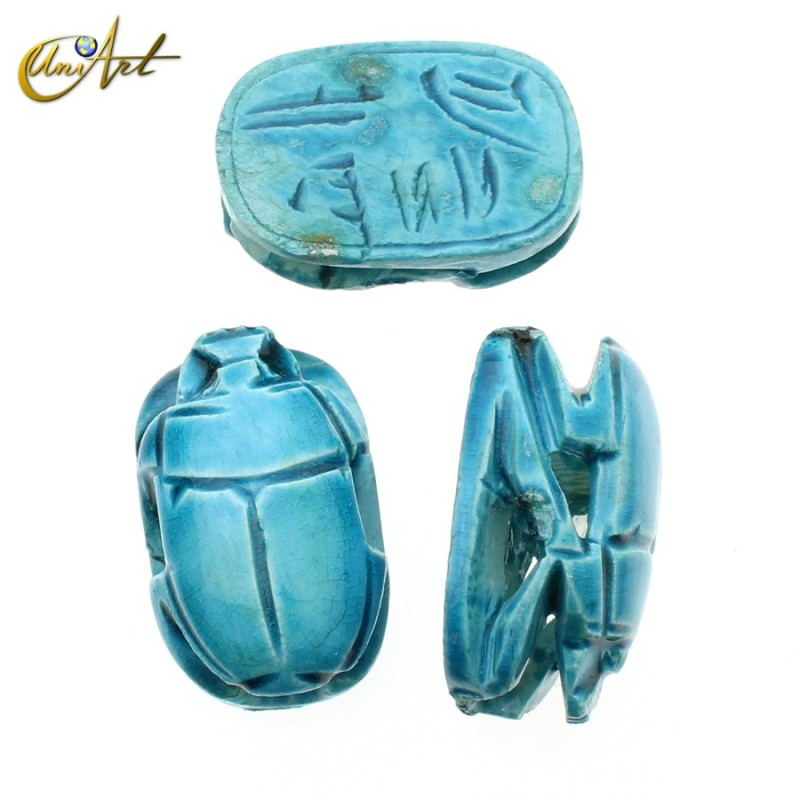 Scarab of Limestone -  light blue